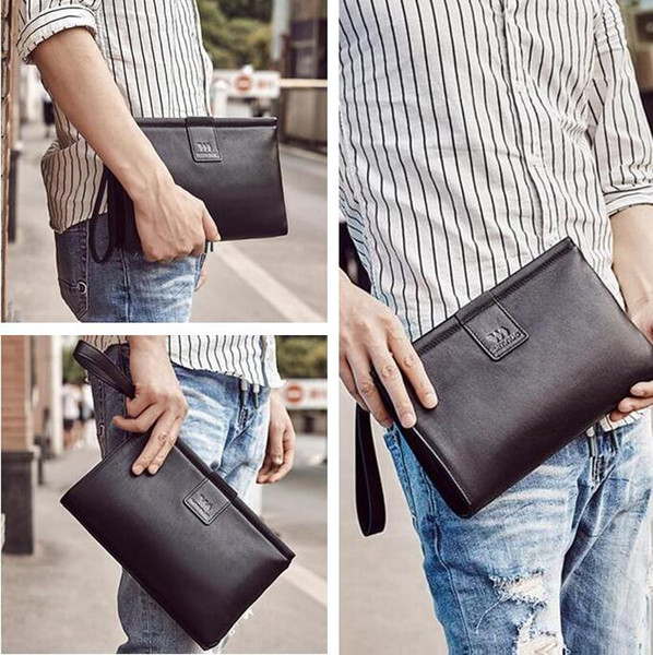 Factory brand men bag simple leather business handbag fashionable head layer cowboy men wallet soft leather large capacity envelope bag