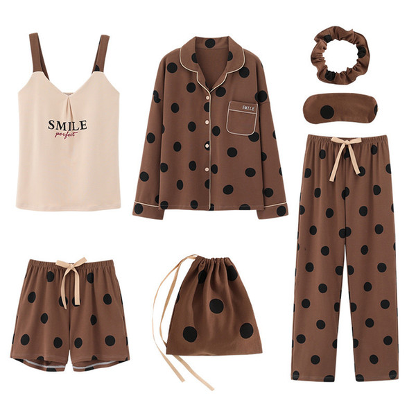 7pcs set Pyjamas Set Ladies Cotton Sweet Home Outerwear Women Sleepwear Set Home Wear Clothing Dot Print Pajama sets