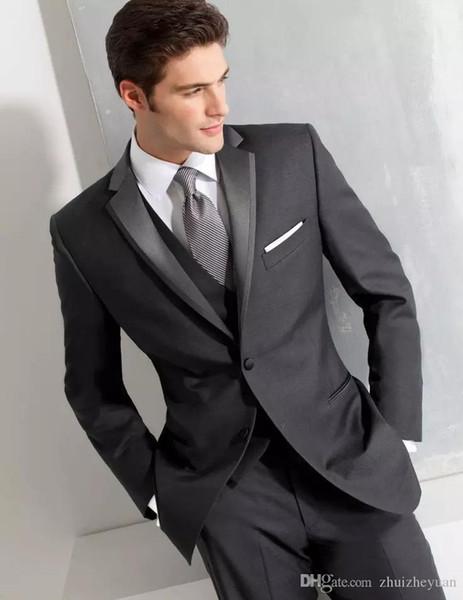 Erkekler Için 2018 Klas Siyah Üç Adet Düğün Smokin Custom Made Slim Fit Broomsmen Suit İki Düğme Erkekler İş Takımları (ceket + Pantolon + Yelek)