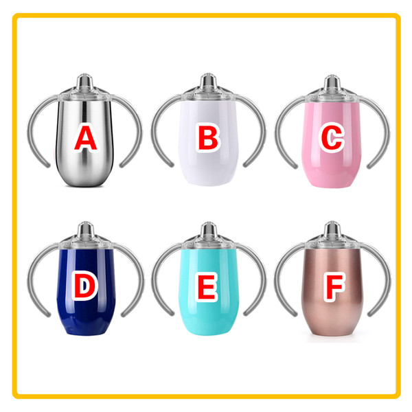 best selling 8oz Stainless Steel Kids Cup with Handles Sippy Cups Double Wall Vacuum Insulated Baby Tumber Cup Leak Proof Travel Car Mugs Kids