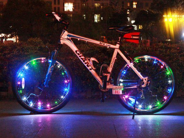 top popular 300pcs Colorful Bicycle Wheel LED Flash Light Bike Cycling Wheel Spoke Led Lamps 2m Copper Wire String Light Bike Wheel Valve Cap Lights 2019