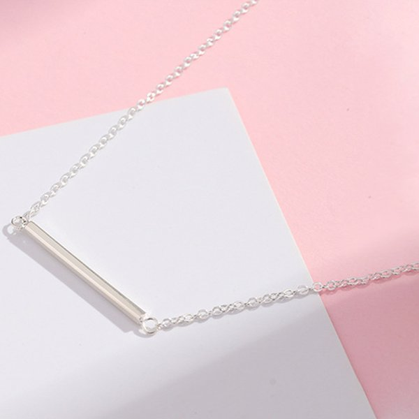 Authentic Solid 925 Sterling Silver Square Bar Pendant Necklace High Quality Silver Chain Choker Necklace Minimalist Jewelry For Women