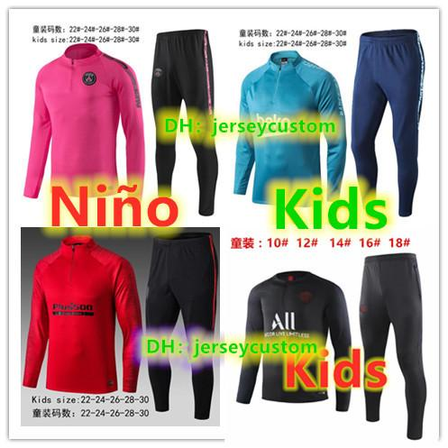 top popular 19 20 survetement Enfant soccer jersey tracksuit soccer kids training suit 2019 2020 football shirt maillot de foot jacket jogging tracksuit 2019