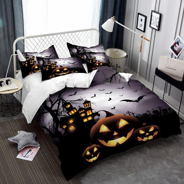 3D Halloween Pumpkin Bedding Set Cartoon Castle Duvet Cover Set Twin Full Queen King Bedding Cover Kids Bedclothes 3Pcs