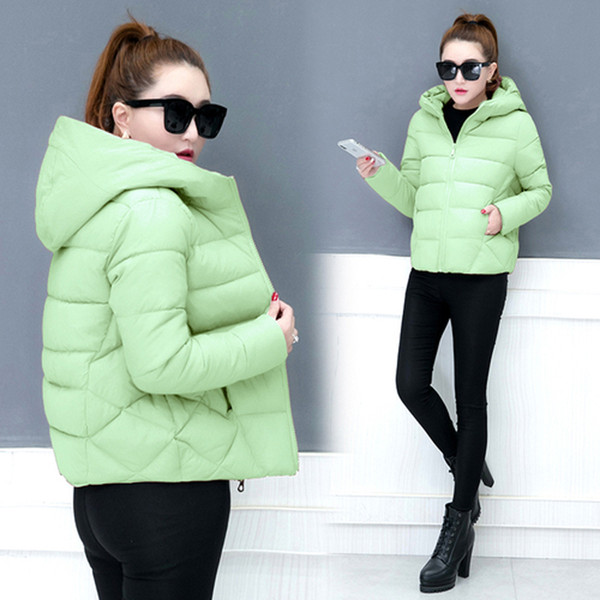 YICIYA Green warm parka women thick coat jacket 2018 winter hooded solid plus size female jaket clothing black red pink