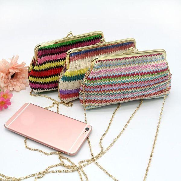 Cheap Sleeper #5002 Ladies Knitting Rainbow Pattern Wallet Shoulder Bag Free Shipping