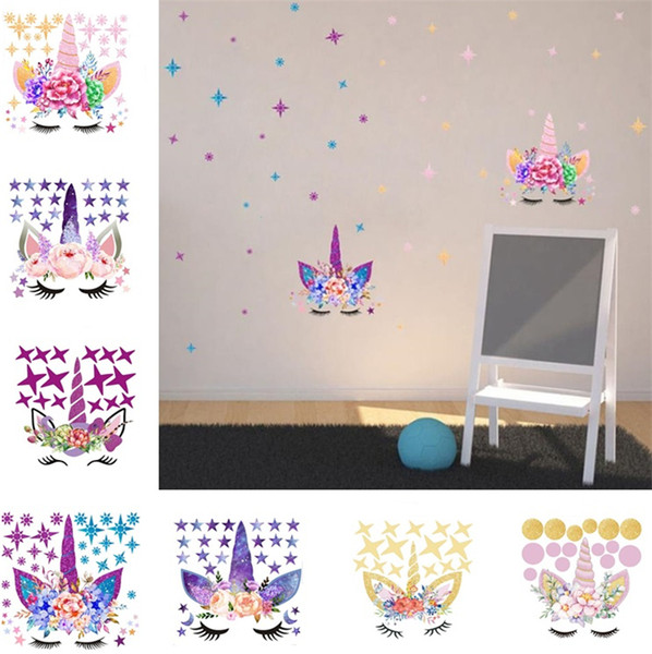 Three Style DIY Unicorn Stickers Cartoon Star Wall Stickers Star Flower  Wall Sticker Children\'S Bedroom Wall Sticker T6I6003 Room Stickers  Decorations ...