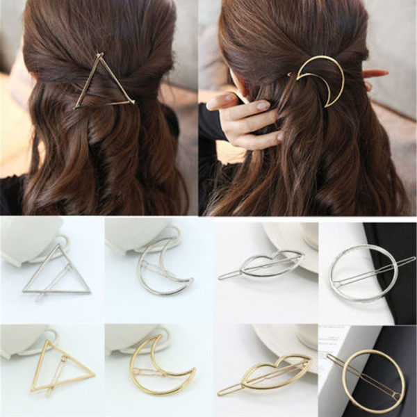 New Fashion Women Girls Gold/Silver Plated Metal Triangle Circle Moon Hair Clips Metal Circle Hairpins Holder Hair Accessories