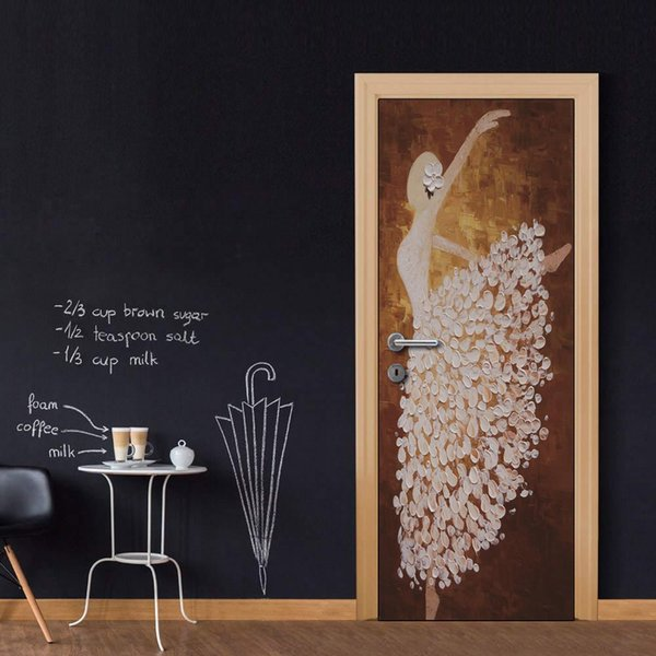 Door Wall Mural Wallpaper Stickers Ballet Dance Painting Vinyl Removable Decals for Home Room Decoration