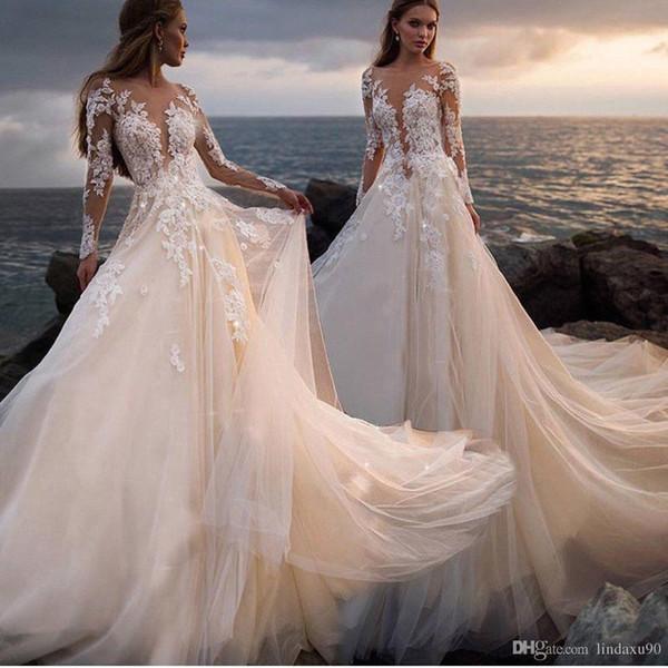 Cheap Beach Boho Wedding Dresses Long Sleeve Illusion Top Sheer Back Lace Destination Dream Bridal Gowns Button Back Robes de mariée bohème