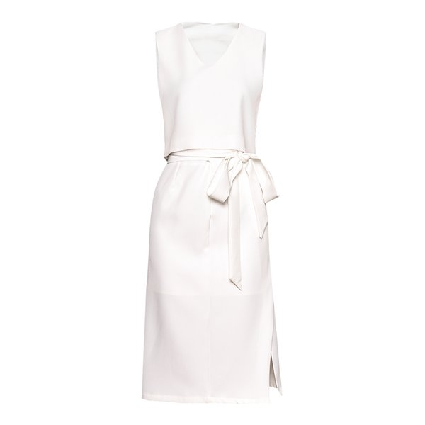 2019 Summer Minimalist Fashion 2 Pcs Set Solid Short V-Neck Sleeveless Crop Top + Matched Split Bow Lace-Up Skirts Lady Twinset