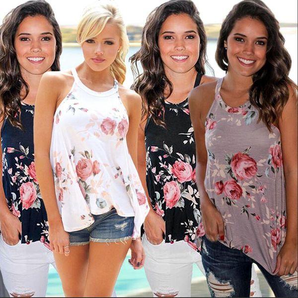 best selling Women Summer Floral Vest Tank Top Loose Sleeveless T Shirt Neck Strap Irregular Casual T-shirt Tee Beach Travel 10pcs AAA2242