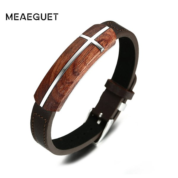 leather Meaeguet Vintage Rosewood Genuine Leather for Men Wooden Street Jewelry Bracelet Homme Adjustable