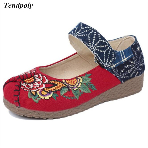 Designer Dress Shoes Spring Autumn new retro ethnic style old Beijing cloth linen shallow mouth embroidered Women's fashion casual hot