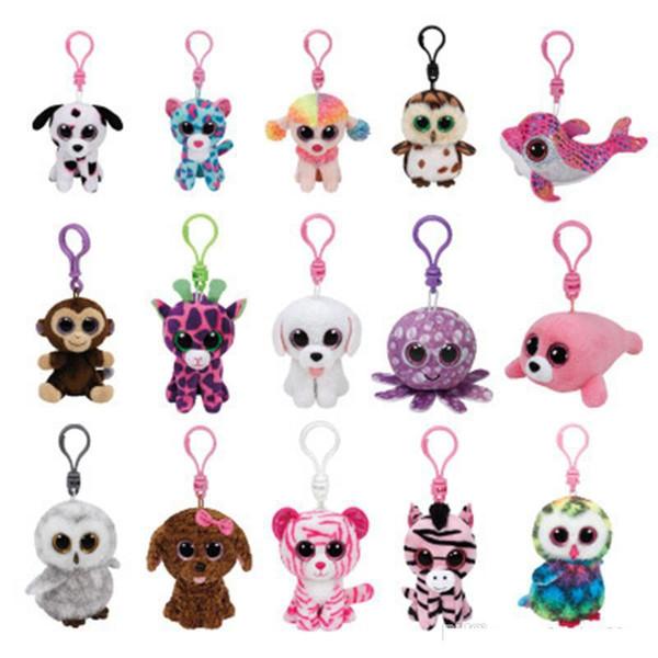 TY Keychain 4inch 10CM Stuffed Animals Plush Toy White Ty Beanie Boos Marcel TWIGGY Pink Owl Fantasia Sammy Pippie dog Leona Leopar1