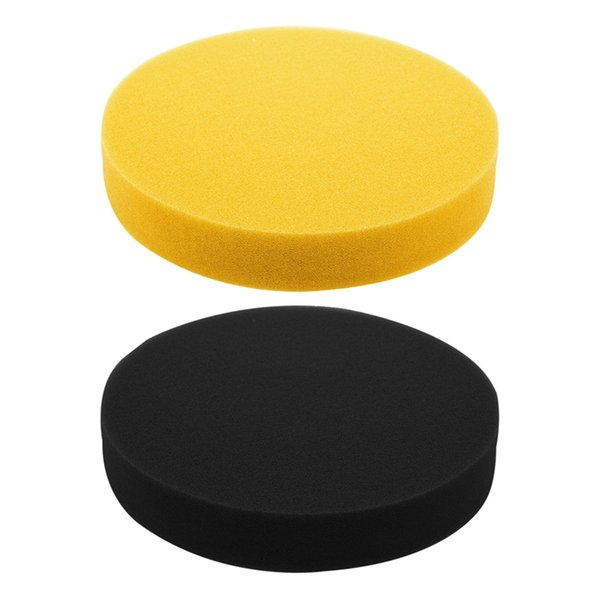 2 pcs 6 inch 150mm soft flat sponge buffer polishing pad kit for auto car polisher color:yellow & black