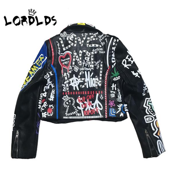 LORDLDS 2019 Lederjacke Frauen Graffiti Bunte Print Biker Jacken und Mäntel PUNK Street Kleidung Damen