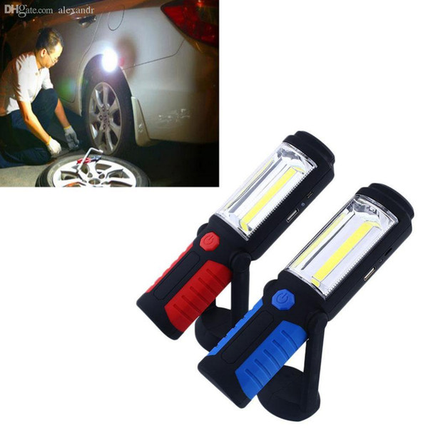 Wholesale-COB LED Magnetic Working Stand Hanging Swivel Hook Rotation Light Inspection Rechargeable Lamp Torch Drop Shipping