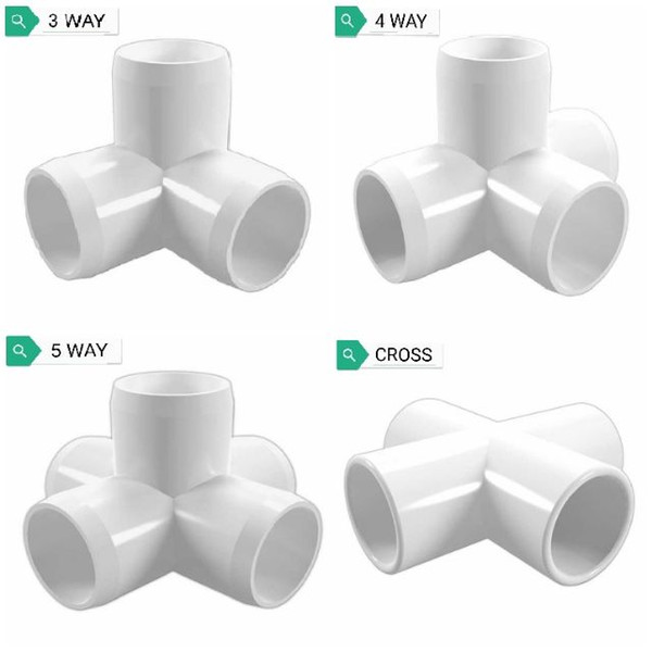 """best selling 20mm@3 4"""" PVC (26.80 Mm Inner Diameter) PIPE JOINT FITTING ELBOW CONNECTOR DIY ART SCH40 3 4 5 WAY"""