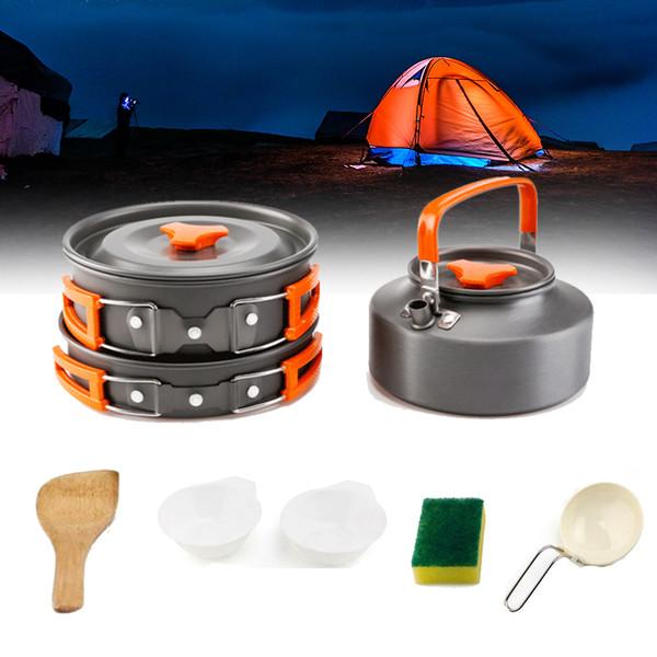 Posate Picnic Padella per esterni Escursionismo Cucina Lega di alluminio Articoli per la tavola Teiera Bollitore Pentola Campeggio Cottura Set portatile