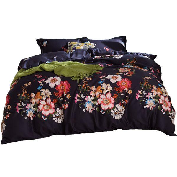 Luxury 100% Egyptian cotton bedding set long stapled cotton bedlinen palm tree leaf floral bohemian satin duvet cover40