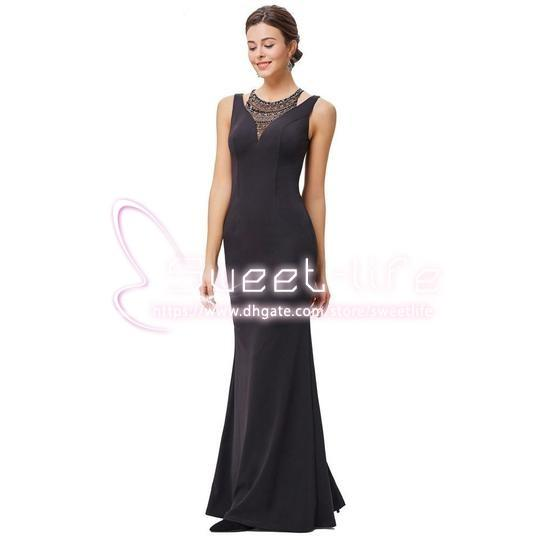Long 2019 Mother of the Bride Dress Floor Lenght Satin Sheath Sleeveless Rhinestones Cocktail Party Dresses Formal Evening Nightgown