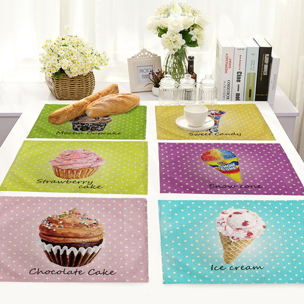 Ice-cream Cakes Pattern Decorative Placemats for Dinning Table Mats Heat Insulation Linen Table Napkin Restaurant Tableware Pads