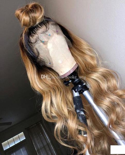 9A Niveau 150% Densité perruques de cheveux humains # 27 Ombre de la mode vague de dentelle perruque perruque avant Vierge dentelle perruque de cheveux sans colle