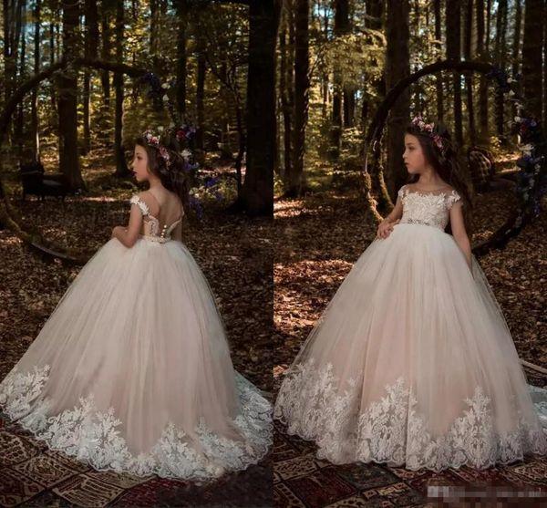 Champagner Prinzessin Capped Sleeves Blume Mädchen Kleider Spitze Applique Kristall Taille Tüll Kleines Mädchen Kinder Formelle Kleidung Pageant Kleid