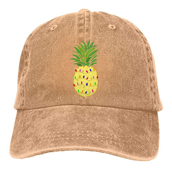 2019 New Custom Baseball Caps Pineapple Christmas Tree Lights Mens Cotton Adjustable Washed Twill Baseball Cap Hat