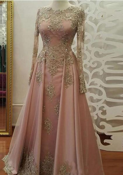 AMN058 Modest Long Sleeve Blush Pink Prom Gowns Evening Wear Lace Appliques Crystal Abiye Dubai Evening Gowns Caftan Muslim Party Dress