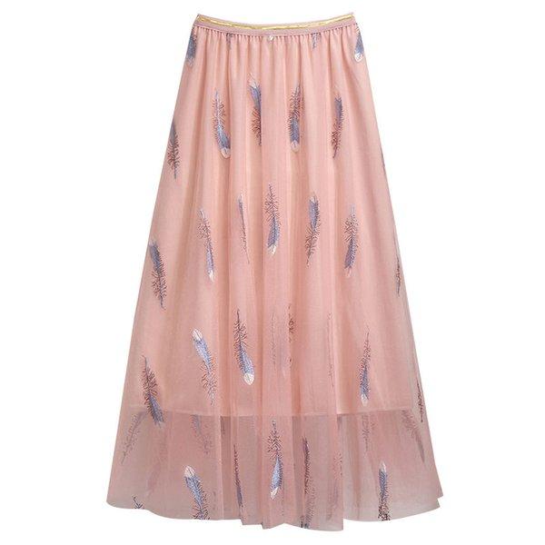 2019 Summer Korea New Skirt Women Elegant Pink Embroidery Mesh Chiffon Pleated Skirt Women Midi Jupe Saias faldas