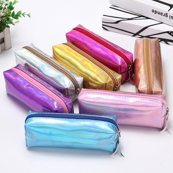 best selling Cute Solid Color Iridescent Glitter Laser Pencil Case and Animals Pencil Bags School Stationery Supplies Kids Gifts