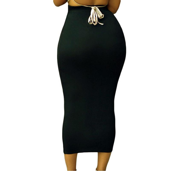 ladies bodycon skirts womens high waisted pencil fitted plain casual stretch midi skirt, Black