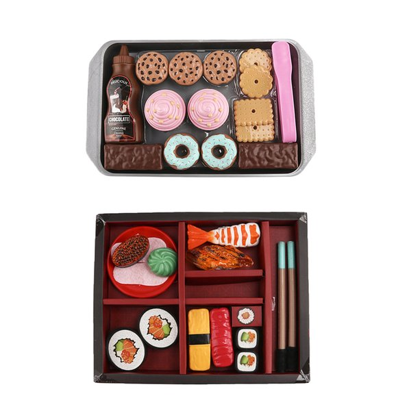 top popular 2 Sets Food Trays with Sushi and Cookies - Pretend Play Kitchen Food Set for Toddlers 3 Years + 2021
