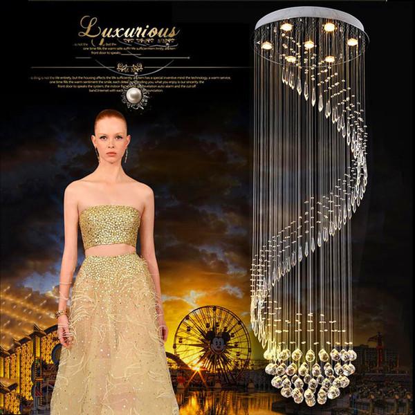 LED Modern Crystal Chandelier For Spiral Design LED Luxury Crystal Lamp Hanging Interior Ladder Corridor Lamp