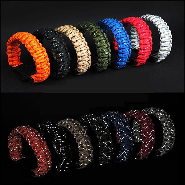 Hot Sale Outdoor Survival Fluorescent Bracelets 9 Cores Line Woven Hand Chain Rope Tactical Emergency Luminescent Bracelet with Whistle