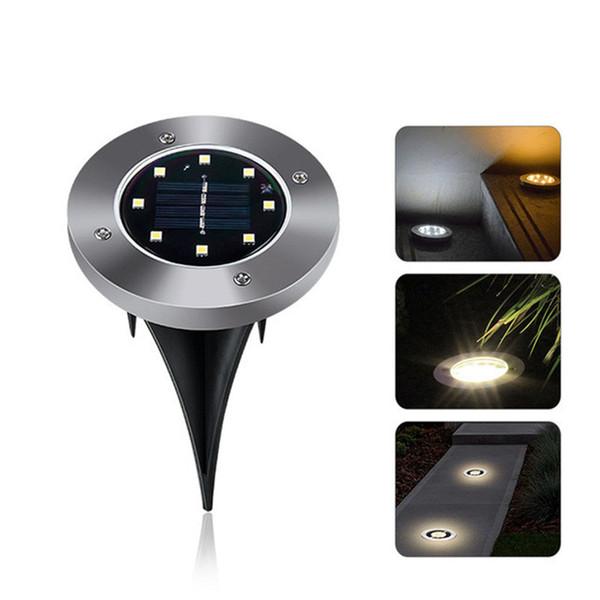 IP65 Impermeabile 8 LED Lampada da terra solare per esterni Paesaggio Prato Cortile Scala sotterranea sepolta Luce notturna Decorazione del giardino di casa