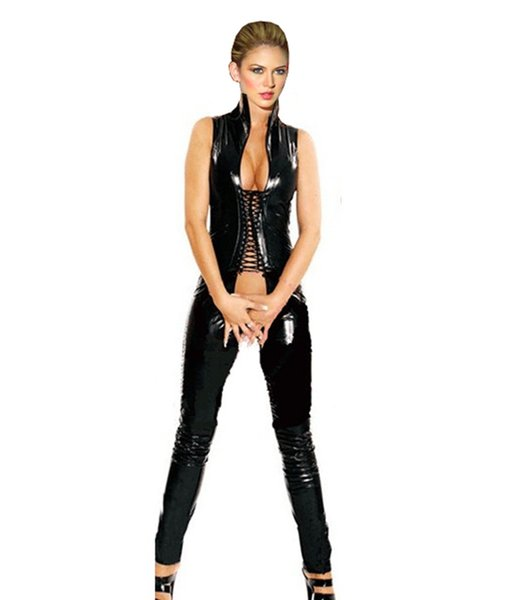 Women Black Faux Leather Bodysuit Sexy Cut Out Catsuit Sleeveless Bodycon Jumpsuit Erotic Open Crotch Fetish Party Clubwear