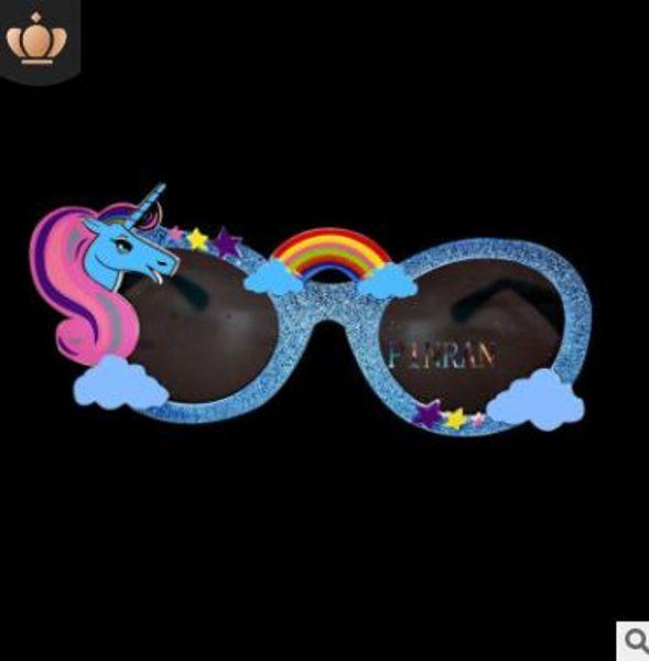 Blue glasses frame gray glasses