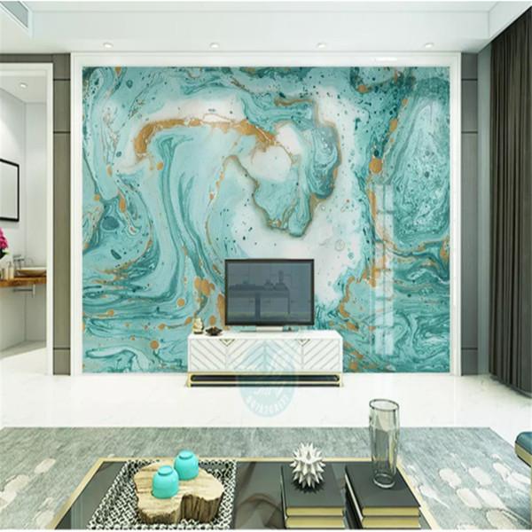 Acheter Personnalisé Mur Papier Peint 3d Européen Abstrait Bleu Marbre Texturé Fond Papiers Peints Pour Salon Chambre Papier Peint Décor à La Maison
