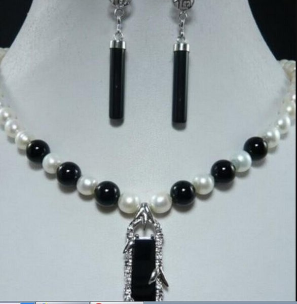 necklace Free shipping ++++906 White Akoya Pearl +Black Agate Pendant Necklace Earring Set