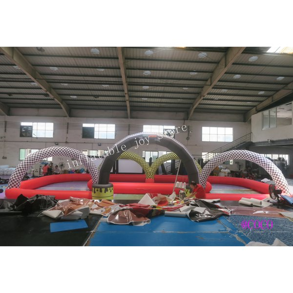 top popular custom made cars race track zorb ball, cheap inflatable go kart race track 2021