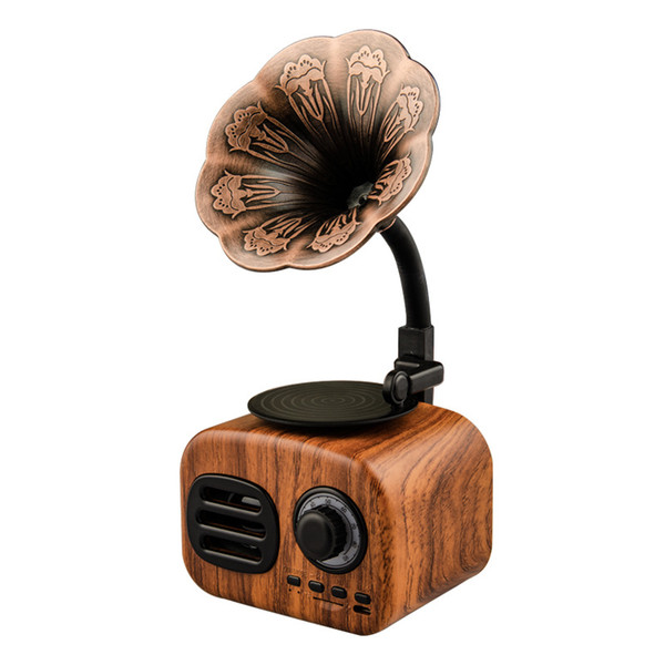 FT-05 Retro Wood Gramophone Music Box Mini Portable Wireless Bluetooth Speaker FM Radio Support FT Cards Long Standby Speakers