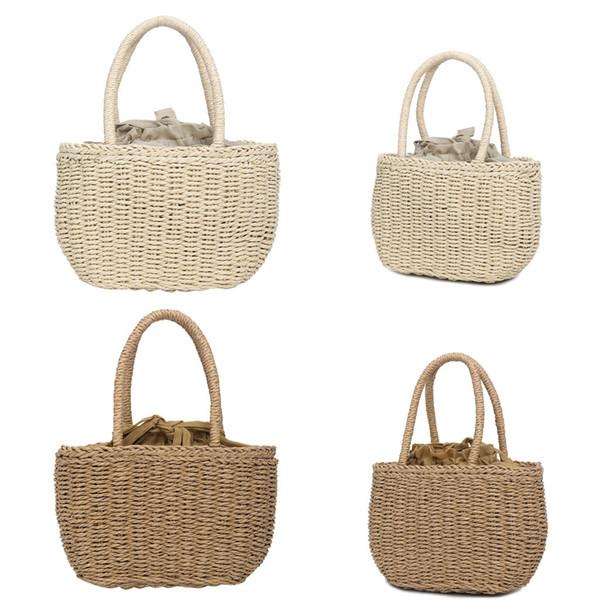 Women's Fashion Straw Woven Bag Great Present Solid Color Handbag Casual Wild Handbag Humanized And Elegant Design Apr 16