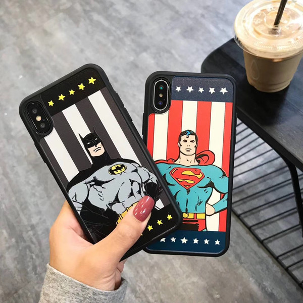 Comics Print Soft Silicone Hard Back Cover, Cartoon Cute Shockproof Shock Absorption Drop Resistant Protective Case for iPhone X XS