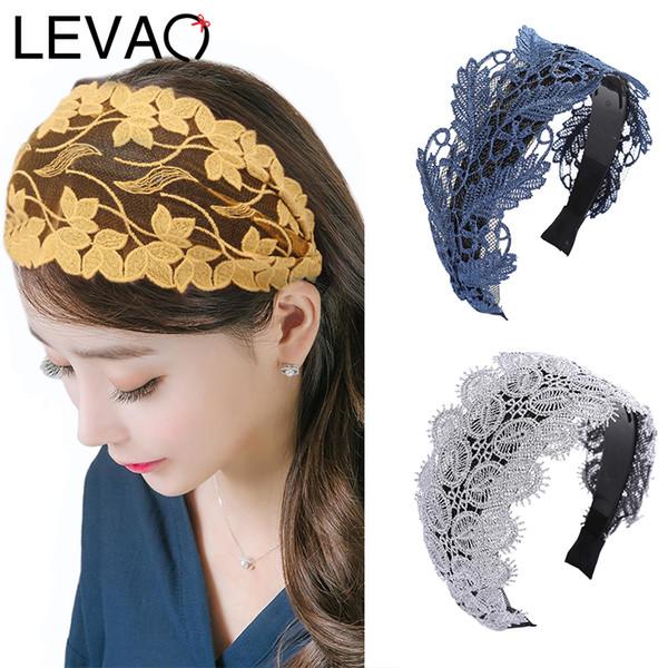 levao 2020 lace hollow headbands hairband bezel turban autumn and winter girls hair accessories hair hoop women elegant headwear