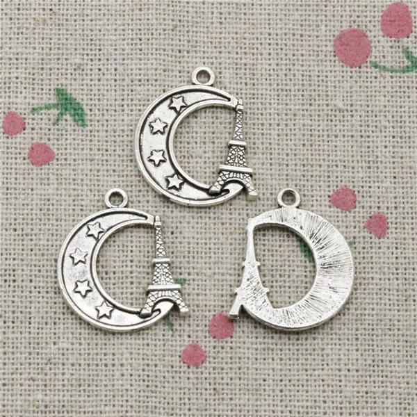 84pcs Charms eiffel tower paris moon 22*19mm Tibetan Silver Vintage Pendants For Jewelry Making DIY Bracelet Necklace