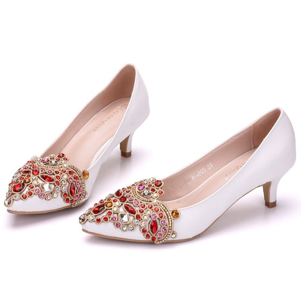 Crystal Queen 5cm Heel Woman Wedding Shoes Pumps With Luxury Rhinestones Bridal Shoes Party Dress Shoes