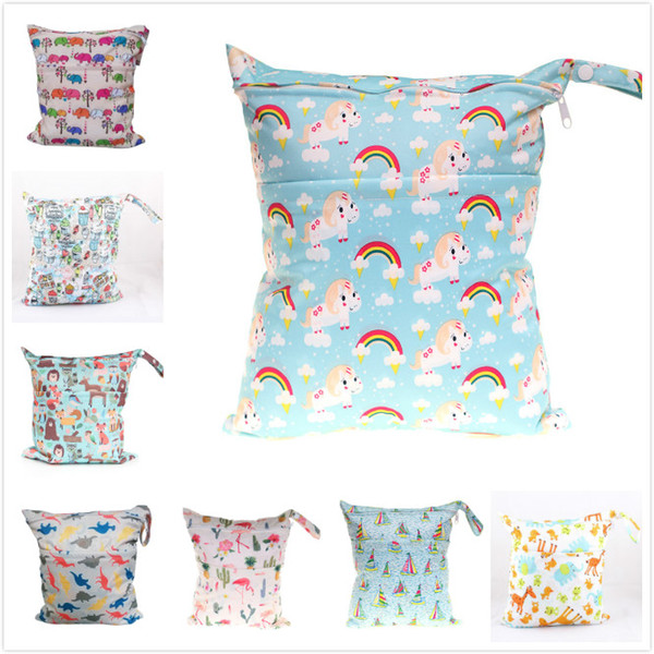 Baby Wet Dry Diaper Bag Unicorn Owl Animal Infant Travel Nappy Organizer Double Zipper Waterproof Tote Bag with Soft Snap Handle